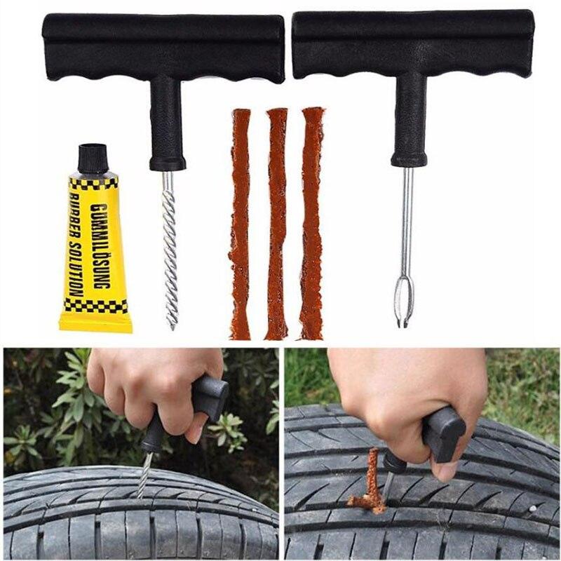 2018 New Car Tire Repair Tool Kit For Tubeless Emergency Tyre Fast Puncture Plug Repair Block Air Leaking For Car Truck Motobike