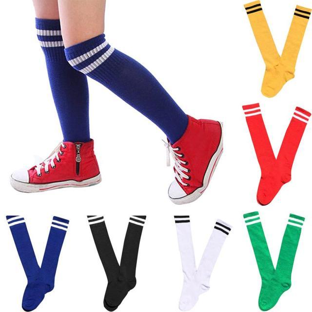 NIÑOS Calcetines deporte fútbol largos calcetines sobre la rodilla ...