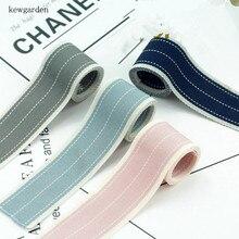 Kewgarden 25mm 2.5cm  Stripe Cotton Ribbons DIY Bowknot Accessories Satin Ribbon Handmade Tape Riband 7m/lot
