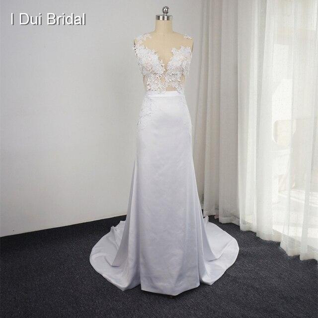 Neue Design Hochzeit Kleid mit Abnehmbarem Zug Sleeveless Mantel ...