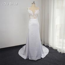 New Design Wedding Dress with Detachable Train Sleeveless Sheath Transparent Back Sexy Bridal Gown Custom Made Real Photo Naomi