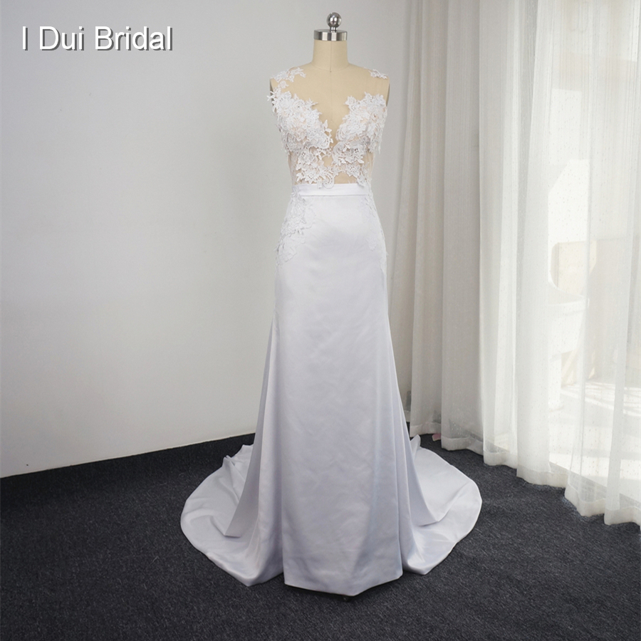 New Design Wedding Dress with Detachable Train Sleeveless Sheath Transparent Back Sexy Bridal Gown Custom Made Real Photo Naomi