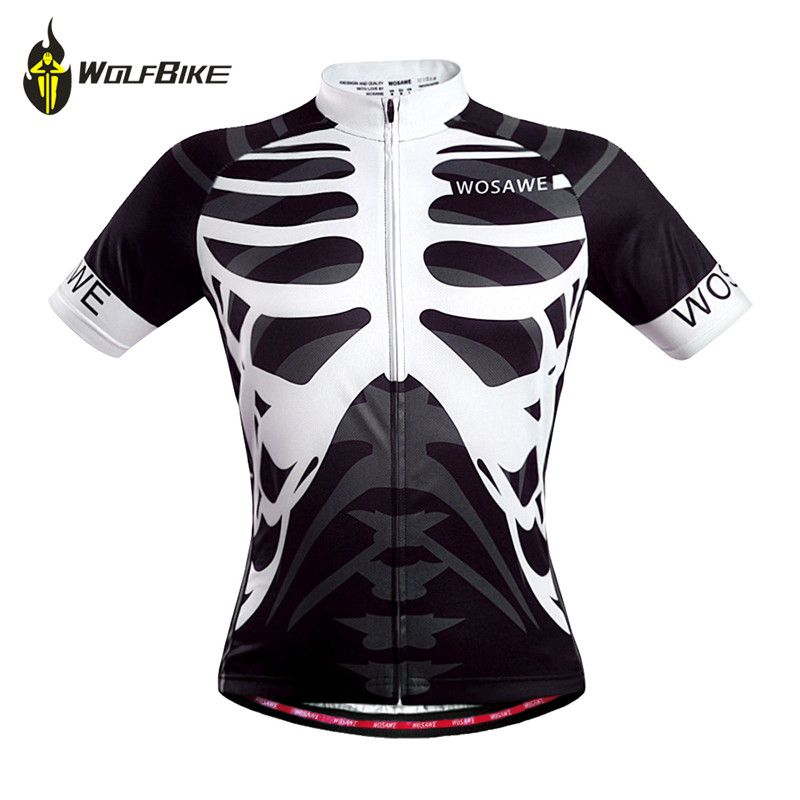 WOSAWE Men Skeleton Bone Cycling Jersey Mountain Road Bike Bicycle Sportswear Ciclismo Short Sleeve Cycle Wear Clothing