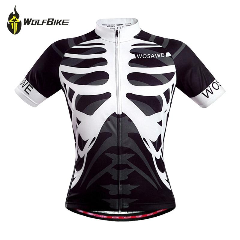 WOSAWE Men s Skeleton Bone Cycling Jersey Mountain Road Bike Bicycle Sportswear Ciclismo Short Sleeve Cycle