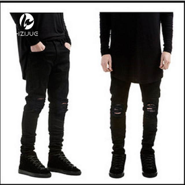 Designer Brand New Men Black Jeans Skinny Ripped Stretch Slim