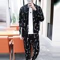 Autumn Men's Track Suit Sweatshirts Printing Long Sleeve Men Hoodies Stand Collar Male Outwear Tracksuit Set + Pants 5XL