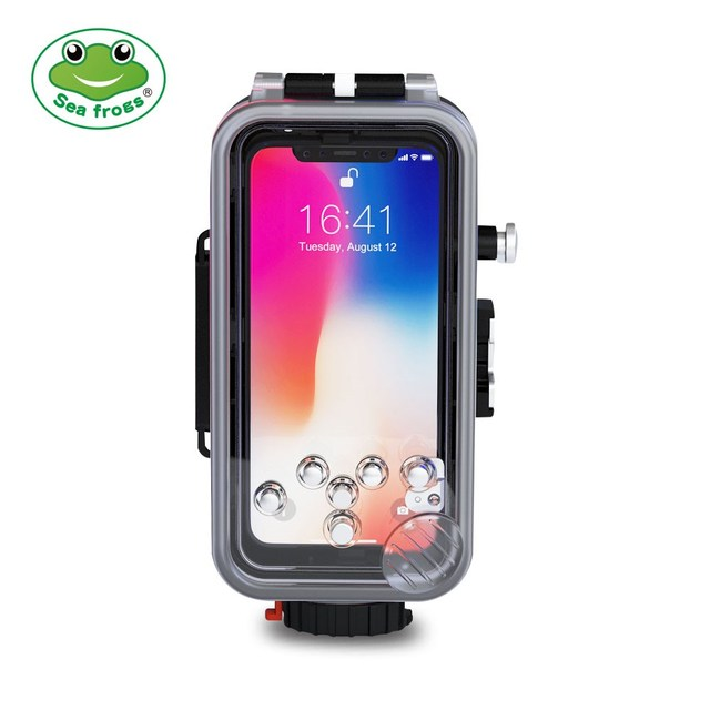 hot sale online b3eec 35ad0 US $75.6 40% OFF|Seafrogs For iPhone X Waterproof Housing Professional  Diving Underwater Photography Cellphone 60M Phone Camera Accessrories  Case-in ...