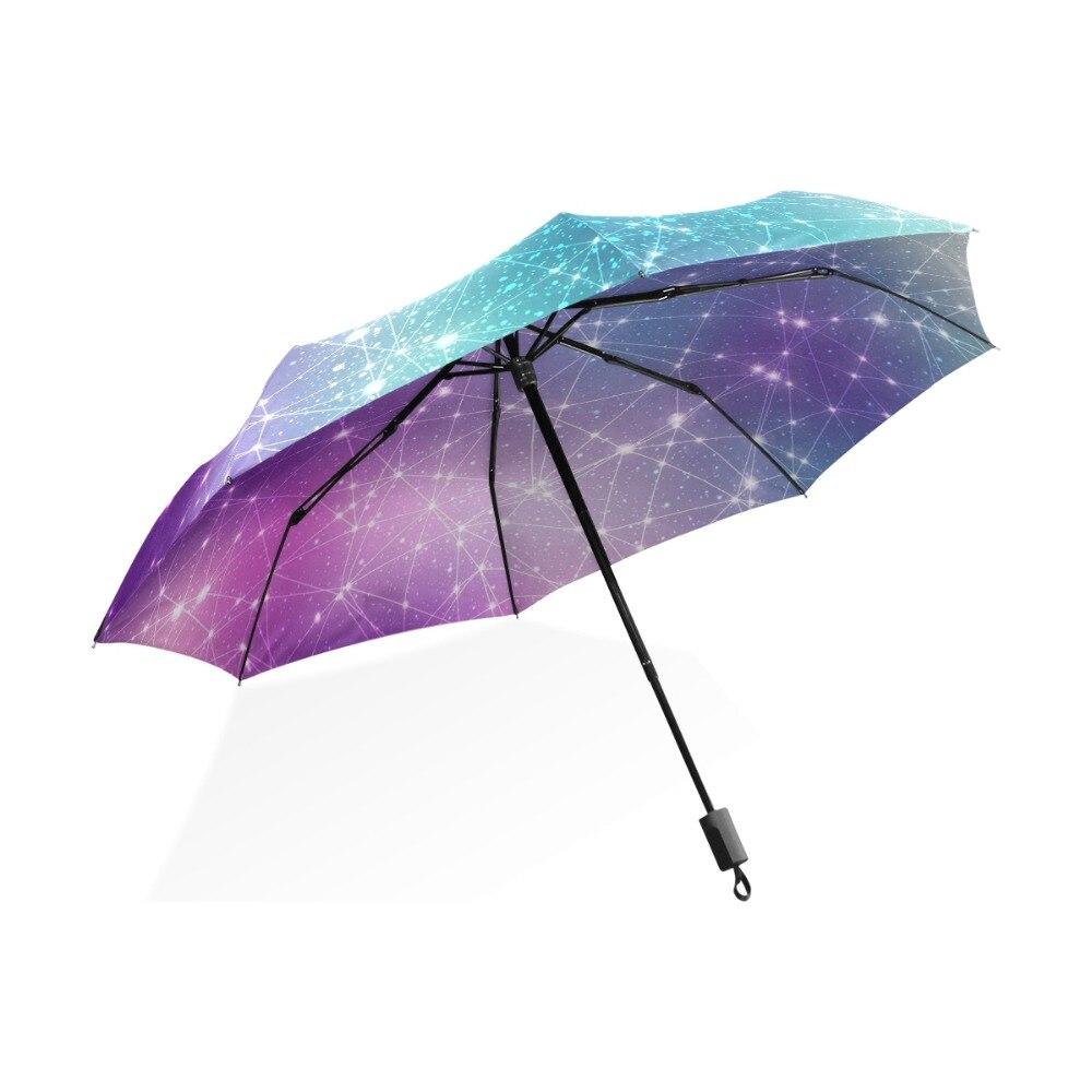 Automatic/Manual Open Pongee Three Folding Umbrella Romantic 12 Constellation Umbrella Creative Zodiac Signs Children Rain Gear