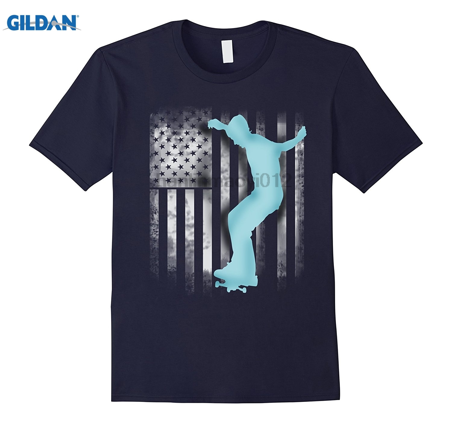 GILDAN skate American Flag T Shirt, u.s. street skateboard Team Mothers Day Ms. T-shirt