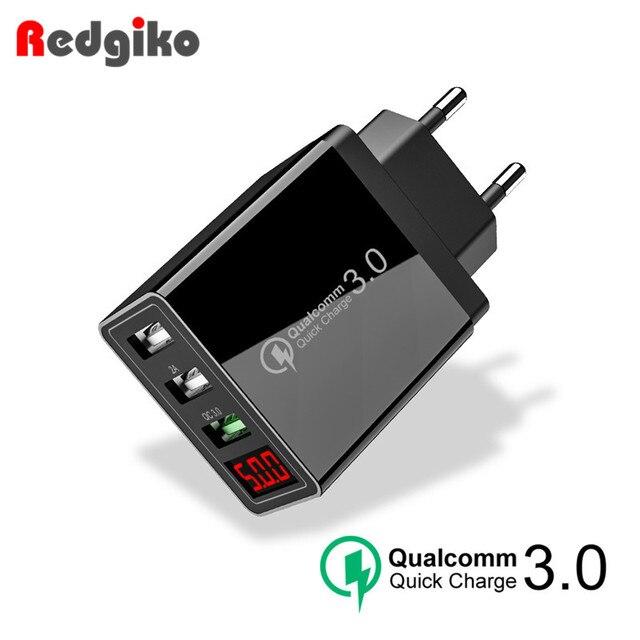 טעינה מהירה 3.0 USB טלפון מטען LED דיגיטלי 3 יציאות USB 3A LED תצוגת האיחוד האירופי קיר טלפון מטען מהיר טעינה עבור iPhone סמסונג