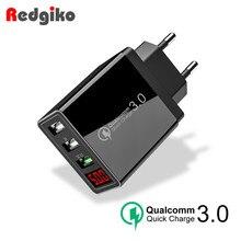 Быстрая зарядка 3,0 USB зарядное устройство светодиодный цифровой 3 порта USB 3A светодиодный дисплей ЕС Сетевое зарядное устройство для телефона Быстрая зарядка для iPhone samsung
