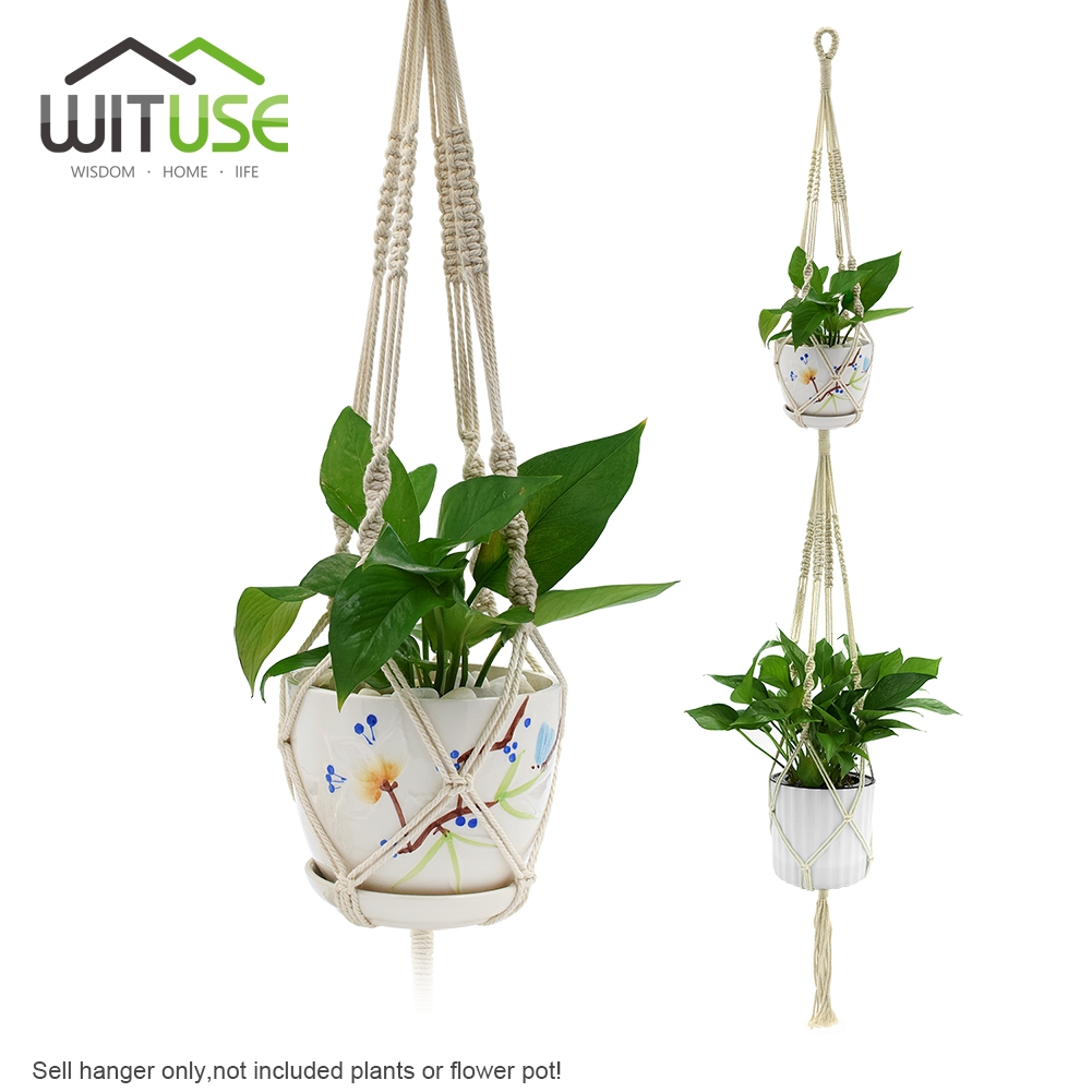wituse 2 deck pure cotton macrame rope flower pot hanger wall