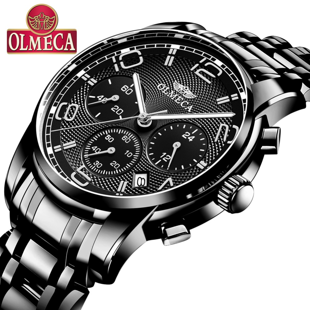 Mens Watch Luxury Brand Olmeca Men Business Watch Waterproof Stainless Steel Quartz Watches Relogio Masculino skone business watches men luxury brand waterproof quartz watch male stainless steel casual wristwatch man relogio masculino