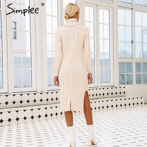 Image 3 - Simplee אלגנטי צד פיצול חם ארוך שרוול נשים שמלת גולף fit סתיו חורף סוודר שמלה לבן שמלות אופנה 2018