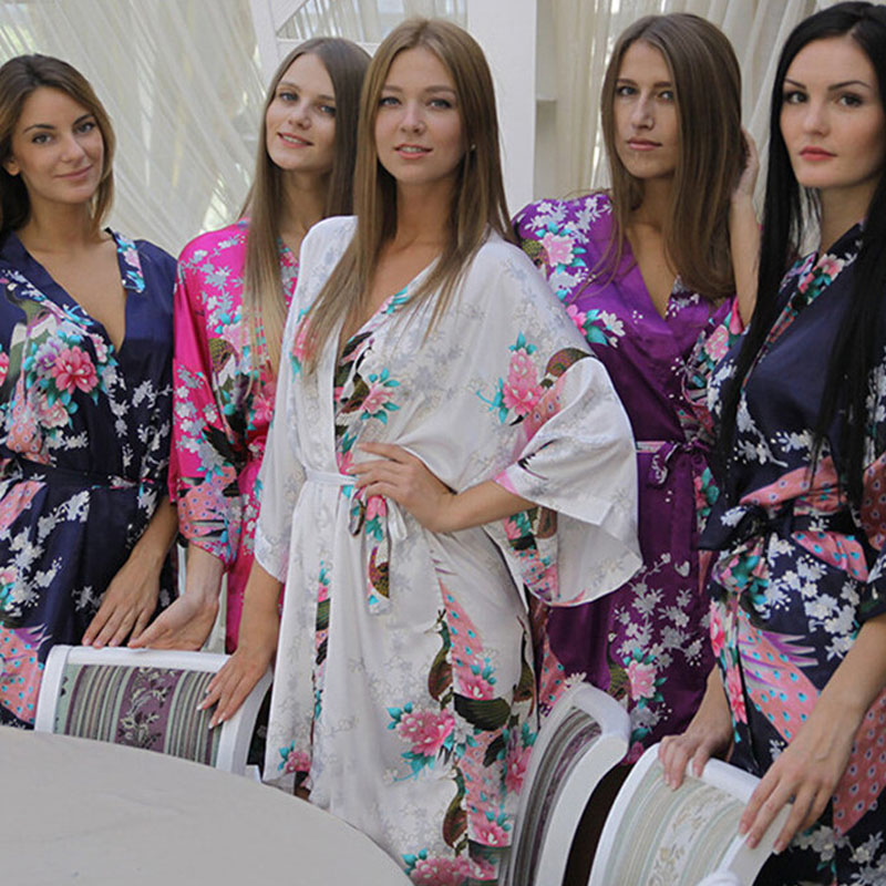 ჱSilk Satin Wedding Bride Bridesmaid Robe Floral Bathrobe Short ...