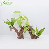 Saim Artificial Aquarium Plants Fish Tank Ornament Imitation Roots Driftwood Trunk Aquarium Wood Natural Plants Fish Tank Decor