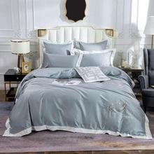 2019 Nordic Silver Grey Feathers Bedding Set Embroidery Egyptian Cotton Bedlinens Queen King Size Duvet Cover Set Cushion Covers