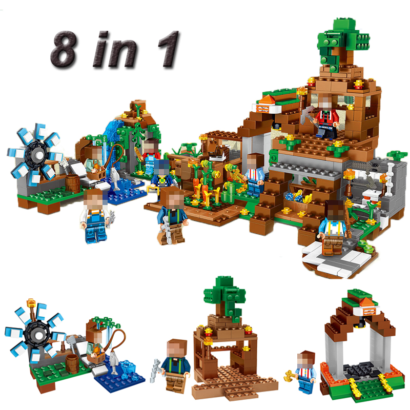 8 In 1 Minecrafted Manor Estate House My World Model Building Puzzle Blocks Bricks Set Compatible Toys Gift  For Kids #E new 4pcs set minecraft sword espada models figures my world building blocks model set figures compatible toys for kids