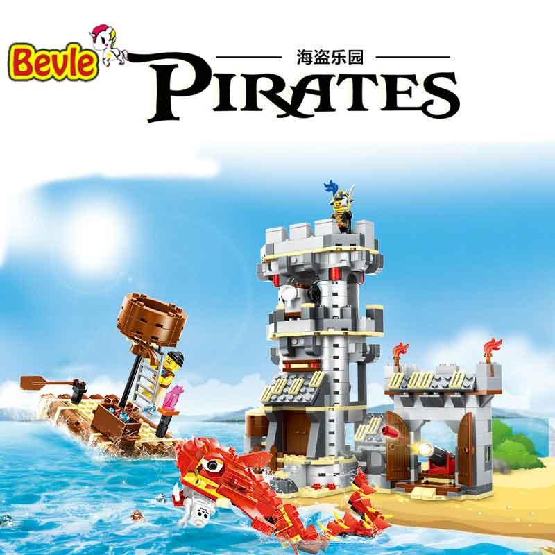 Lepin 54041 744pcs Pirate Series Coastal Watchtowers Building Blocks Pirates Caribbean Kid Toys For Gift lepin 22001 pirate ship imperial warships model building block briks toys gift 1717pcs compatible legoed 10210