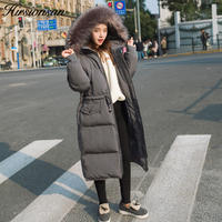 Hirsionsan Women Parkas Large Fur Collar Hooded Coat 2017 Winter Thicken Warm Cotton Padded Jackets Gray