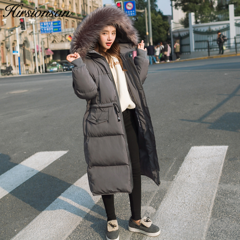 Hirsionsan Women Parkas Large Fur Collar Hooded Coat 2017 Winter Thicken Warm Cotton-padded Jackets Gray Slim Parka for Female new winter jacket coats 2017 women parkas long slim thicken warm jackets female large fur collar hooded cotton parkas cm1350