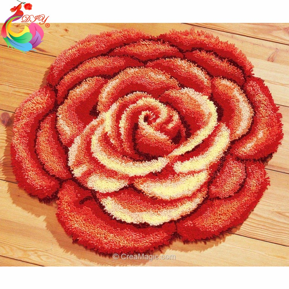 DIY Mat Needlework Kit Unfinished Crocheting Rug Yarn Embroidery Set free shipping 3D Latch Hook Rug Kits Big Red Peony|hook rug kit|rug hooking|hook kit - title=