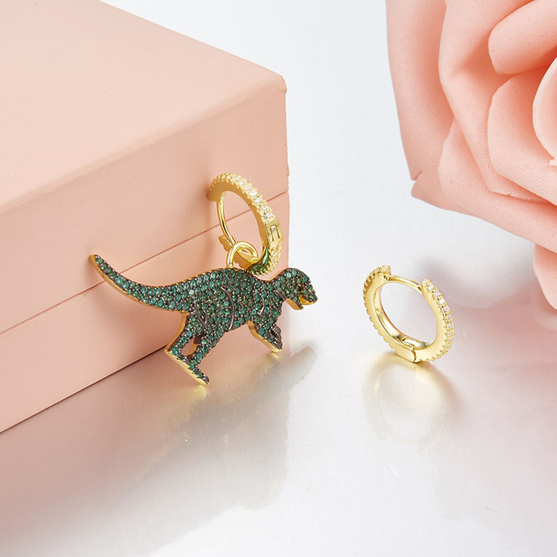 Image 4 - SLJELY Real 925 Sterling Silver Asymmetric Green Dinosaur 
