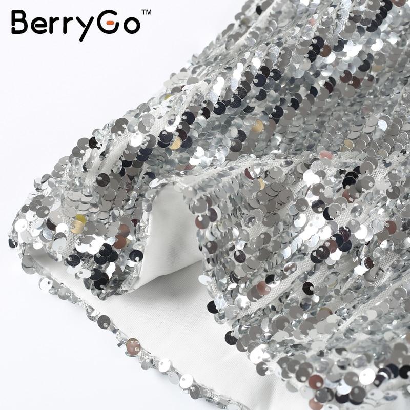BerryGo Sexy silver sequin women dress Deep v neck sleeveless short dress Elegant evening party dresses casual summer vestidos 14