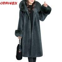 Женское зимнее пальто больших размеров, новая куртка из лисьего меха с капюшоном и овечьей шерстью, длинное плотное теплое Свободное пальто