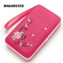 Фотография MAKORSTER Women Phone Wallet Flower Floral Coin Purse Leather Wallets Women Wristlet Clutch Card Holder Women Handy Bags MK240