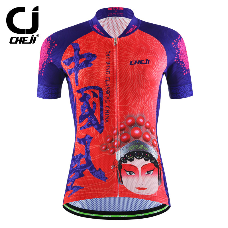 New Cheji Team Cycling Jersey Womens Bike Wear Jacket Shirt Short