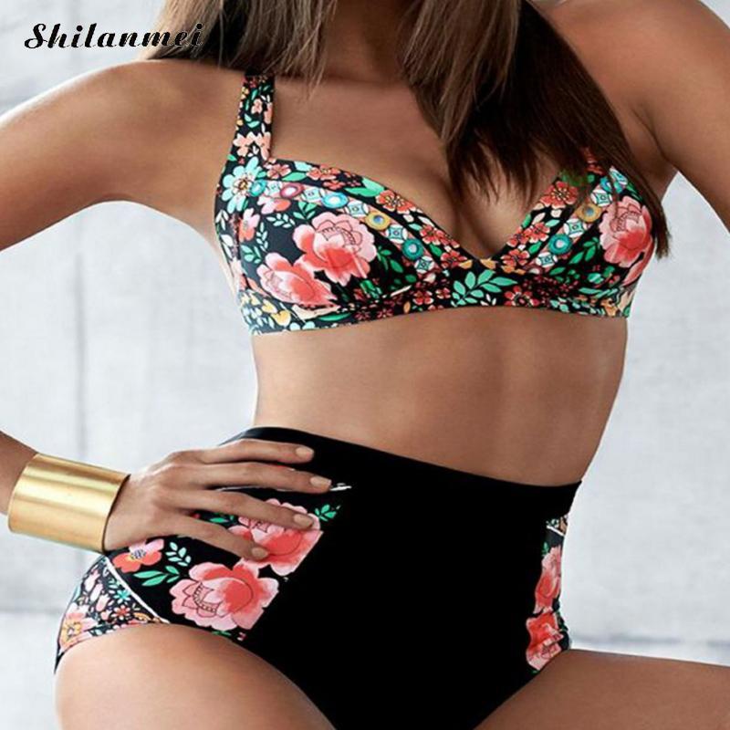 S-3XL Push Up acolchado tamaño más grande Bikini Set mujeres de alta cintura traje de baño Sexy traje de baño verano playa impresión