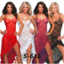 цена на 2018 Fashion Plus Size Sexy dress Rose Babydoll See-through Nightdress Lace Sexy G-String summer spaghetti strap dress
