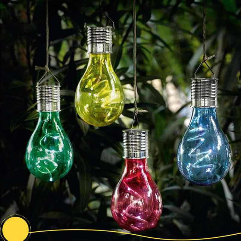 Waterproof light control Solar Light Bulb Rotatable Garden Light Outdoor LED Solar Lamp Camping Hanging Lamps Solar Lighting