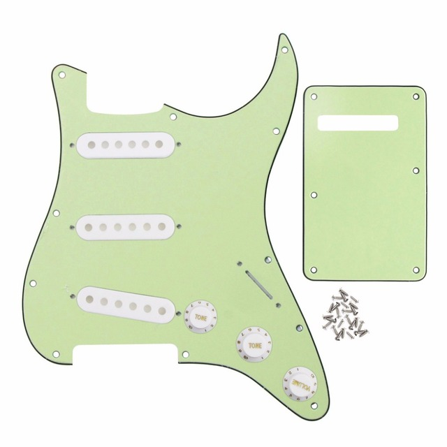 mint green 11 holes strat sss guitar pickguard back plate pickup