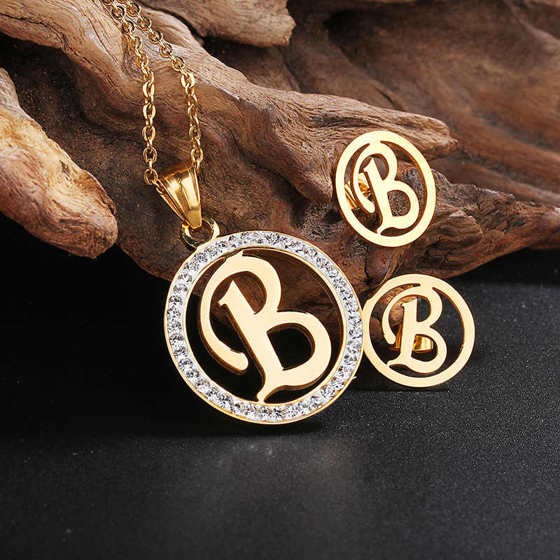 Gold Jewelry Sets B Letter Shaped 316L Stainless Steel Earring And Pendant Alphabet Jewelry Set For Women Girl