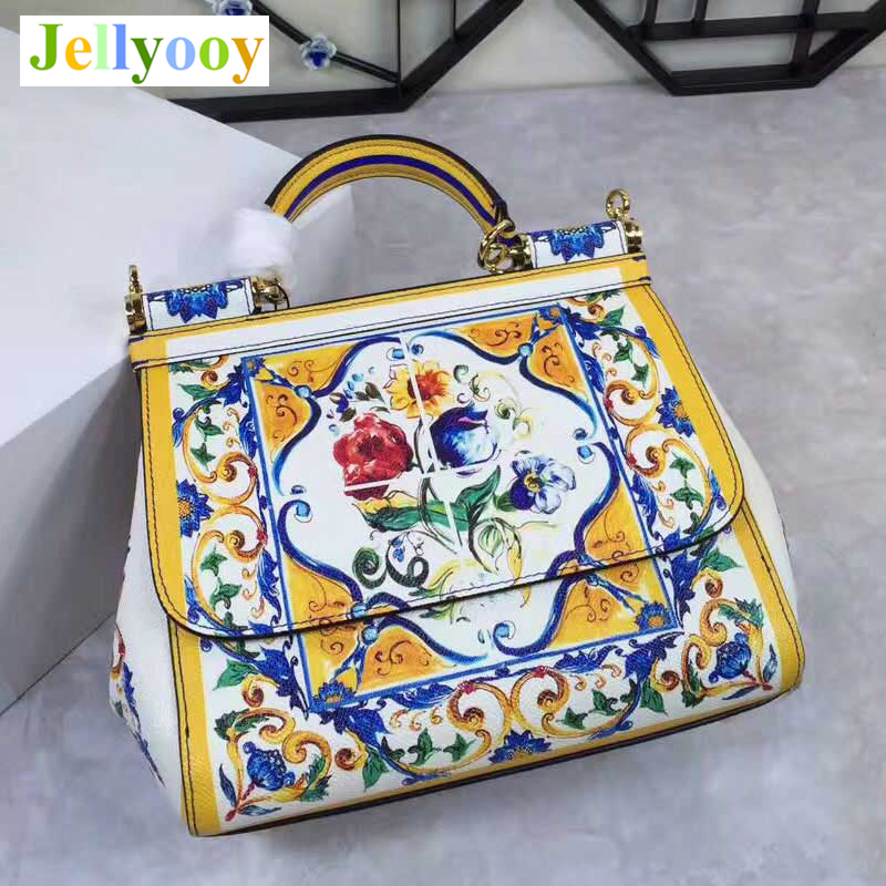 Luxury Women Tote Bags, Blue and White Porcelain Flowers Print Handbag, Genuine Leather Shoulder Bags, Cow Skin Hasp Women's Bag elegant women s shoulder bag with floral print and hasp design