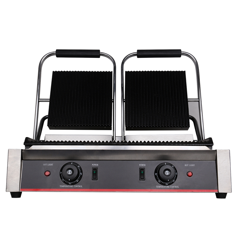Commercial Electric Stripe Contact Grill Panini Press Plates Sandwich Press Plates Eelctric Steak Contact Grill  Double Stoves|Sandwich Makers| |  - title=