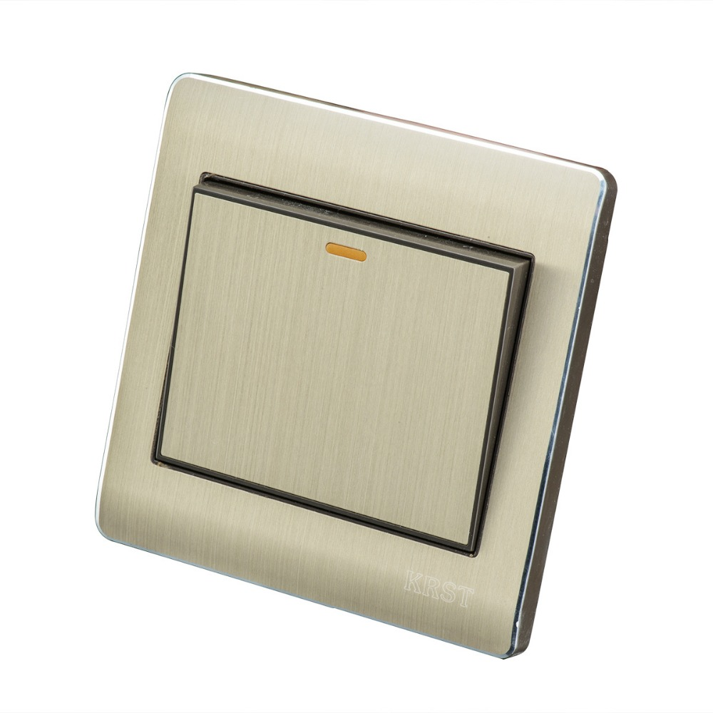 Home Wall Switch Socket, 86-Type Concealed Gold, Open A Double Control Switch Panel, 10A PC110-250V high quality double computer network socket large panel 86type wall socket simple classic white and gold