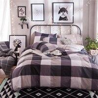 100% Algodón a cuadros marrón café raya bedding set completo queen size los muchachos de los hombres juego de cama 4 unids duvet ropa de cama funda de almohada