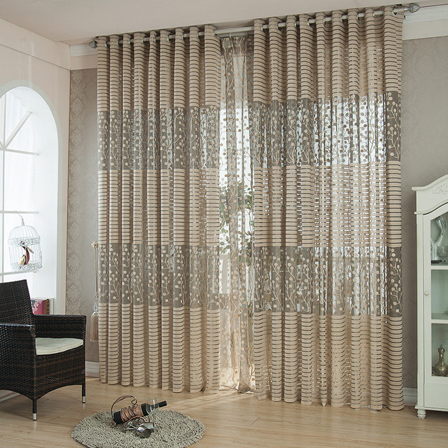 Modern Curtain Brown Rice Stripe Window Screening Ready Curtains High  Quality Sheer Curtain Panel Customized E02
