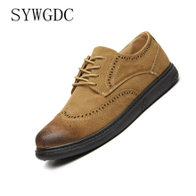 SYWGDC Luxury Brand Men Casual Shoes Genuine Leather Pointed Toe Brogue Shoes For Men Summer Men's Flat Shoes Mens Oxfords Shoes недорого
