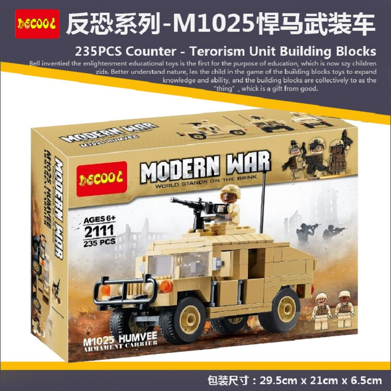 Decool Modern War M1025 the cargo car Hummer Military Soldiers Carry Gun Toys Building Blocks for Lego Wars Weapon Classic for the duration the war years
