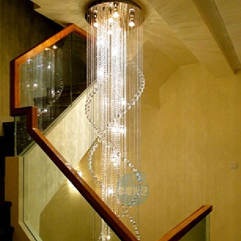 цена на Villa stairs crystal chandeliers double staircase lights long chandelier stairs lantern floor in the floor hollow staircase lamp