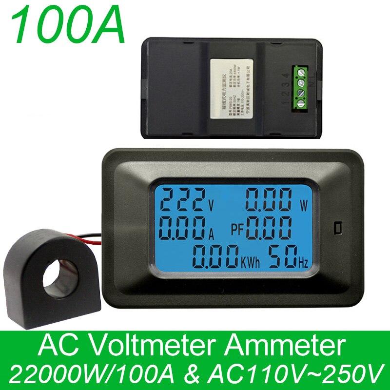 Ac 22kw 85 250 v 100a medidores de tensão digital indicador energia voltímetro amperímetro corrente ampères volt wattmeter tester detector