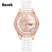 Фотография BOSCK Luxury Ladies Quartz Watch Rose Gold Diamond Watches Women Calendar Waterproof Casual Wristwatches 2056D relogio feminino