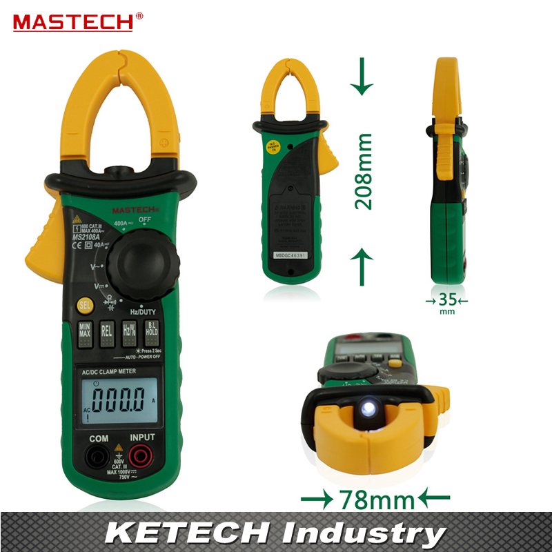 Professional Digital Clamp Meter True-rms Inrush Current 66mF Capacitance Frequency Measurement Instrument Mastech MS2108 mastech ms2108s digital ac dc current clamp meter true rms multimeter capacitance frequency inrush current tester vs ms2108