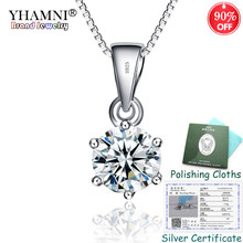 90% OFF! Sent Certificate! 100% 925 Sterling Silver Pendant Necklace Solitaire CZ Diamant Wedding Necklace for Women KPN06(China)