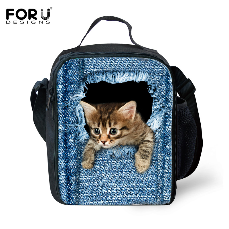 Fashion Jeans Animal Print Lunchbags Women Cat Dog Thermal Lunch Bags For Children Students Casual Portable Lancheira Termica