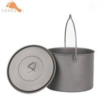 TOAKS Titanium Pot 1.3L Outdoor Camping Cookware Hanging Pot Ultralight Portable Pot With Folding Handles Lid 141g POT 1300 BH